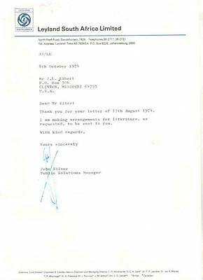 1974 Leyland South Africa Factory Letter wf5175-PTNGU2
