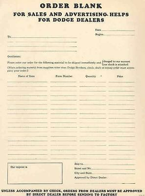1933 Dodge Literature Announcement Material Order Form wf9373-YJ3GXI