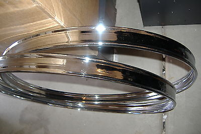 """Pair (2) New 24"""" Chrome Bass Drum Hoops/Rims. Room for Inlay Strip. Steel Metal."""