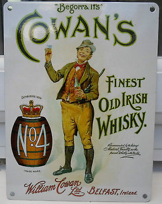 COWAN'S BELFAST #4 IRISH WHISKEY WHISKY VINTAGE STYLE PUB BAR POOL SIGN IRELAND
