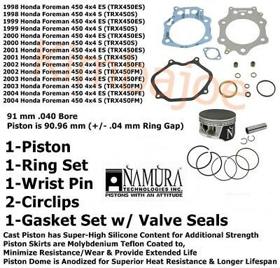 Namura .010 Over Bore Piston Kit 1998-2004 Honda Foreman 450 4x4 TRX450 90.25mm