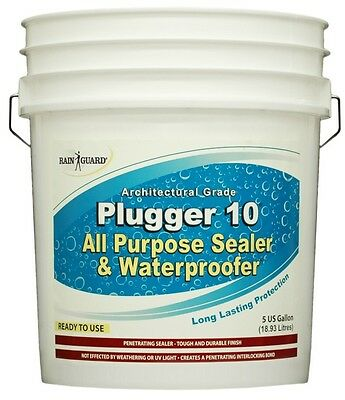 Rainguard Plugger 10 Clear Acrylic Flat sheet Concrete, Stone, Wood Sealer 5 Gal