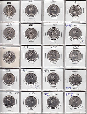 1968 - 1987 Lot of 20 Different Fifty Cent Coins