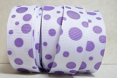 "ST5548 - 5 yds 5/8"" WHITE with PURPLE FLOATING DOTS GROSGRAIN Ribbon"