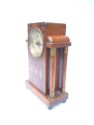 Clock antique wooden small mantel  inserts MOP Mahogany Brass Columb alarm M2 • £95.00