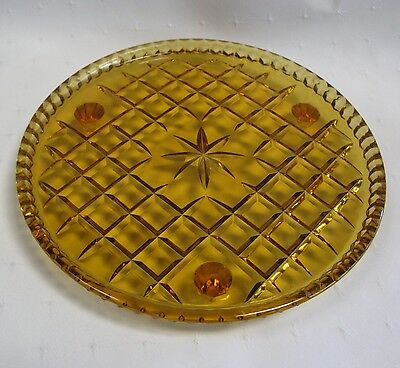 Amber Cut Glass Three Footed Plate
