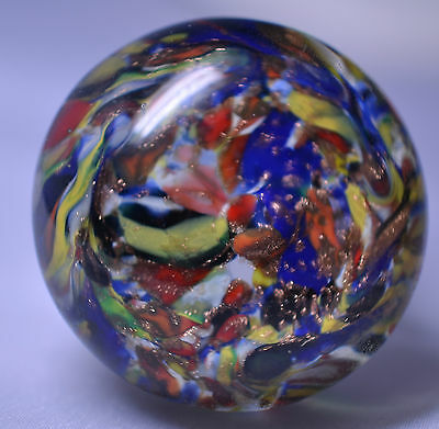 Antique Miniature Multicolored & Goldstone Blown Glass Paperweight