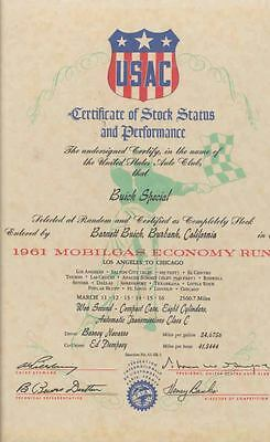 1961 Buick Special Mobil Gas Economy Run Certificate wc4331-32ORHM