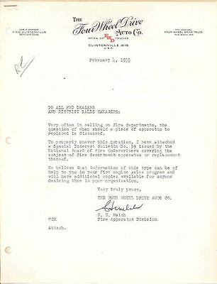 1955 FWD Fire Truck Engine Factory Letter & Bulletin wc7847-BQNP3D