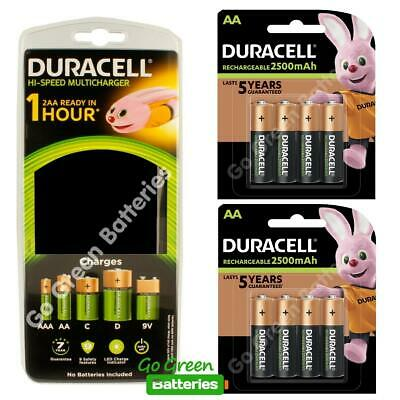 Duracell CEF22 Universal Multi Charger +8 AA 2500 mAh Rechargeable Batteries HR6