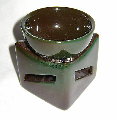 New Ceramic Two Tone Scented Oil Burner Green & Brown B/g