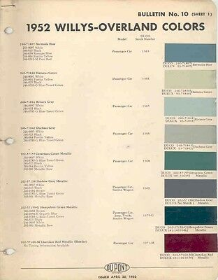 1952 Willys Jeep Paint Color Chips Brochure wa3717-91PRT9