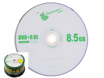 25 Pack Blank DVD+R DL D9 8.5GB 8.5G 8X A+ class Dual Layer Repacked