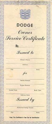 1951 1952 Dodge Owner Service Certificate & Coupons  y299-7S8JPM