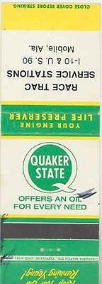 1940's 1950's Matchbook Cover Quaker State Oil mb1204-C5GT4S