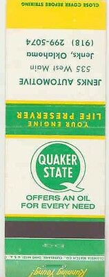 1940's 1950's Matchbook Cover Quaker State Oil mb1205-T9VO2S
