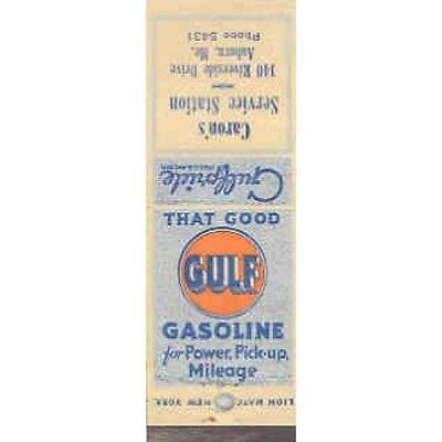 1940's 1950's Matchbook Cover Gulf Gasoline mb1231-NB8QNW