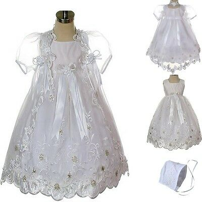 New Infant Baby Toddler Girl White Christening Baptism Dress Gown sizes 0-30 mos