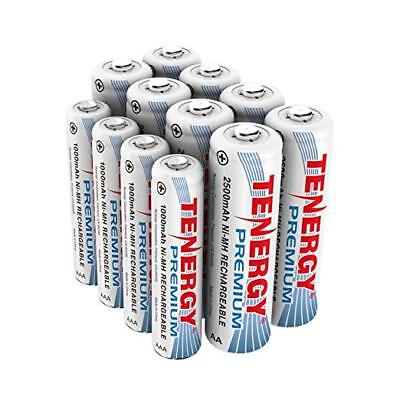 12pcs Tenergy Premium NiMH Rechargeable Batteries Cells 2500mAh/1000mAh 8AA+4AAA
