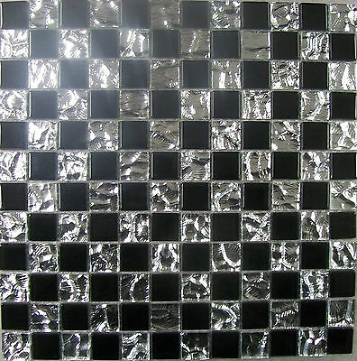 Glass Mosaic Wall Tiles Black & Chrome -Kitchen or Bathroom- Various Pack Sizes