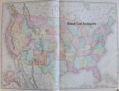 """Original 1898 Map of The United States 25.5"""" X 18.5"""" Rand McNally Large Color"""