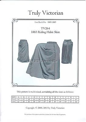 Riding Habit Skirt Costume Sewing Pattern for Victorian 1883  all sizesTV264