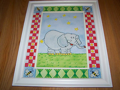 Zoo Safari Elephant Matted Framed Print by Tania Schuppert Nursery Picture Art