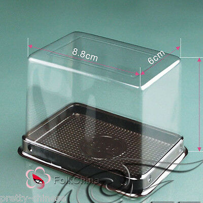 10pcs Individual Clear Plastic Cake Muffin Baking Box Case Tray 8.8cmx6cmx7.5cm