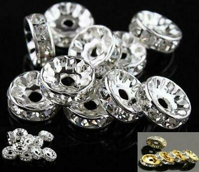 100 PREMIUM QUALITY GRADE A RHINESTONE RONDELLE SPACER BEADS 4,6,7,8,10mm