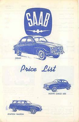 1965 Saab Price List Brochure x6906-HPALV7
