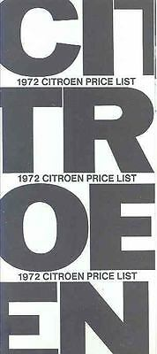 1972 Citroen D Special DS21 Price List Brochure x7149-CGDZ8V