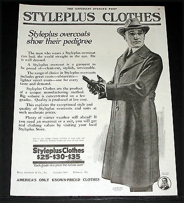 1919 Old Magazine Print Ad, Styleplus Overcoats Show Pedigree, Mens Fashion Art!