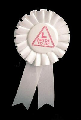 Bride To Be Rosette White & Pink  Badge Hen Party Girls Broach Fancy Dress