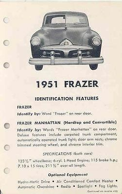 1951 Frazer Manhattan Salesman's Features Brochure po2702-5YLJR1
