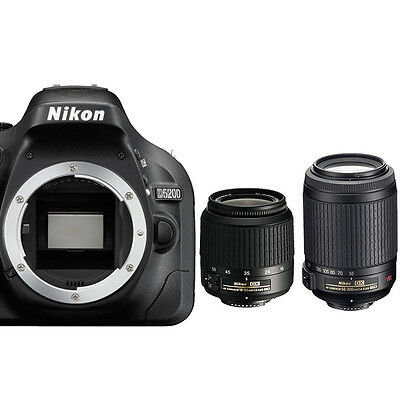 Nikon D5200 Digital SLR Camera Body +18-55mm VR Lens + 55-200mm VR Lens - NEW