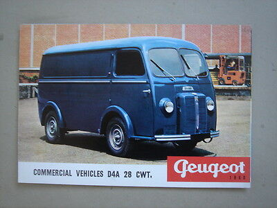 "PEUGEOT   Commercial vehicles ""D4A""  28 CWT.  brochure  1960."