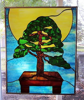 Bonsai Sun Stained Glass Windows Panel