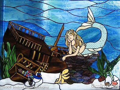 Mermaid with Sunken Pirate Ship Stained Glass Window Panel EBSQ Artist