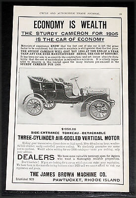 1904 Old Magazine Print Ad, 1905 Cameron 3-Cylinder Touring Car, Air Cooled Eng!