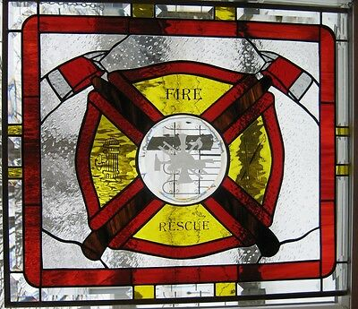 Fire and Rescue Stained Glass Window Panel EBSQ Artist