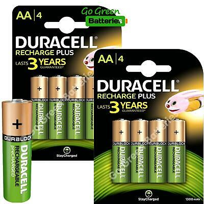 8 x Duracell AA 1300 mAh STAY CHARGE Rechargeable Batteries NiMH HR6 ACCU phone