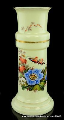 Victorian Custard Glass Hand Painted Enameled Vase Blue Flowers Butterfly 9""
