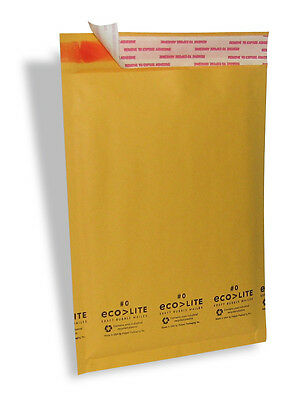 """500 #0 6.5X10 """" Ecolite """" X- Wide Kraft Bubble Mailers Padded Envelopes Bags"""