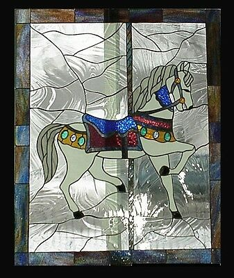 Carousel Horse #1 Stained Glass Window Panel EBSQ Artist