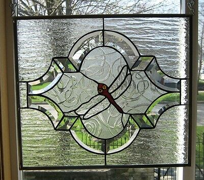 Dragonfly with Beveled Boarder Stained Glass Window Panel EBSQ Artist