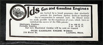 1904 Old Magazine Print Ad, Olds Gas & Gasoline Engines, Stationary & Portable!