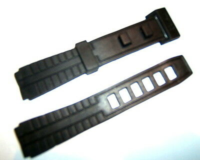 BLACK PLASTIC RESIN PVC 16mm NO-BUCKLE-FREE BUCKLELESS WATCH STRAP UNISEX CASIO