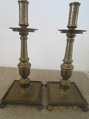 Pr Of Heavy Ornate Brass Candlestick Holder's