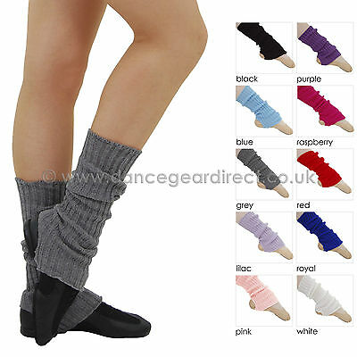 Girls Ladies Ballet Dance 40cm Stirrup Legwarmers Anklewarmers Knitted SLW40
