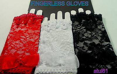 Short Fingerless Lace Gloves/party/disco/hen/dance/goth/costume/ French Maid New